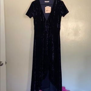 Madisonne crushed velvet wrap dress blue s